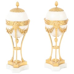 Pair of Large French Louis XVI Gilt-Bronze Mounted White Marble Urns, 1790s