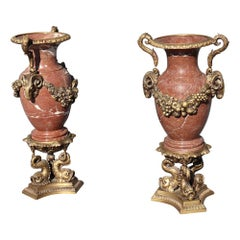 Pair of Large Rouge Marble Bronze Dolphin Base French Louis XVI Style Urns