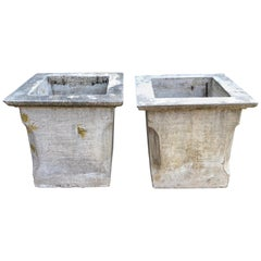 Pair of Large French Mid-Century Modern Square Cast Stone Jardinières