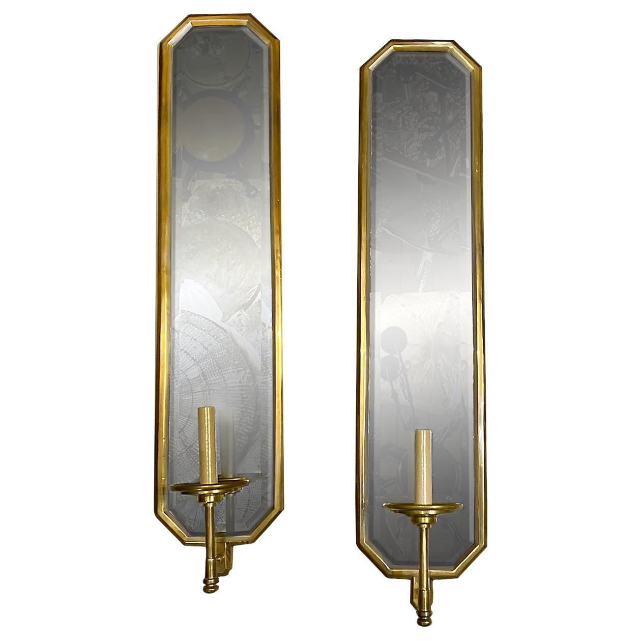Pair of Large French Mirrored Sconces
