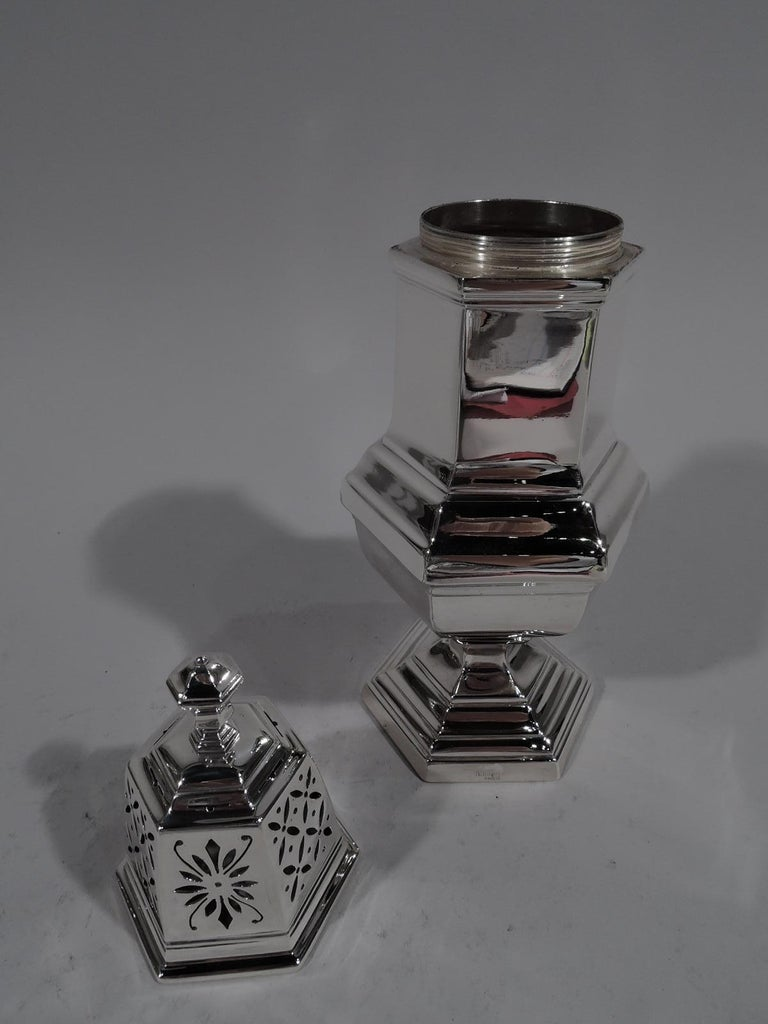 Art Deco Pair of Large French Modern Classical Silver Sugar Casters by Tetard For Sale