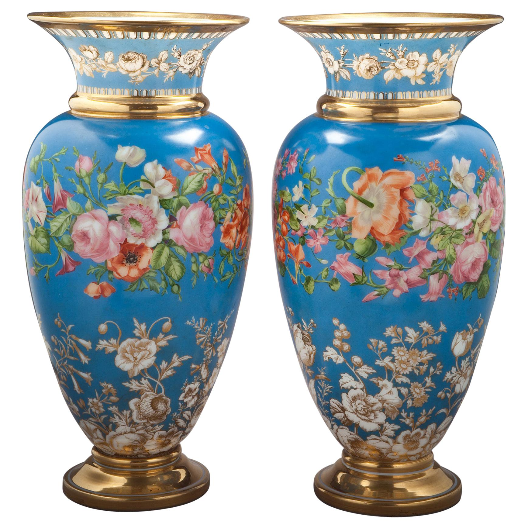 Pair of Large French Opaline Vases, circa 1830
