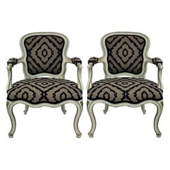 Pair of Large French Painted Armchairs