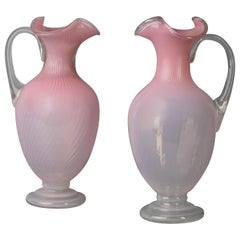 Pair of Large French Pink Glass Ewers, circa 1860