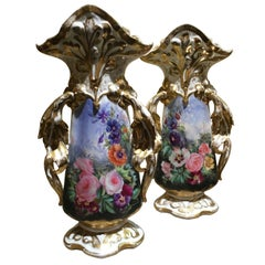 Pair of Large French Porcelain Fan Vases with Floral and Gilt Painting