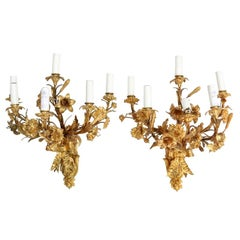 Pair of Large French Rococo Style Gilt-Bronze Bracket Lamps