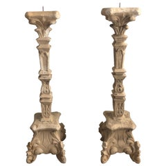 Pair of Large French Rococo Style Italian Pillar Candlesticks