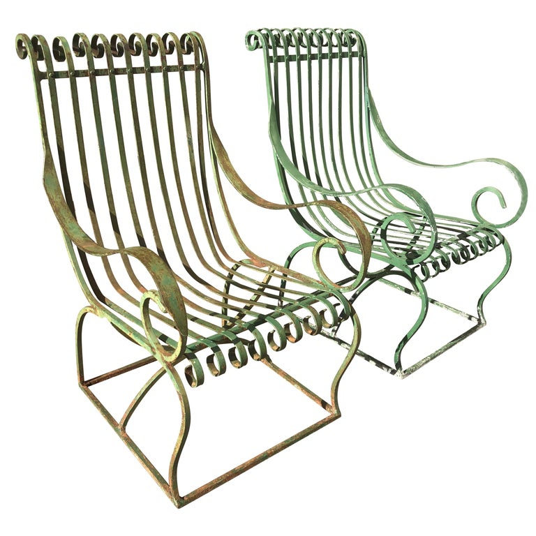 Pair Of Large French Wrought Iron Garden Lounge Chairs At 1stdibs