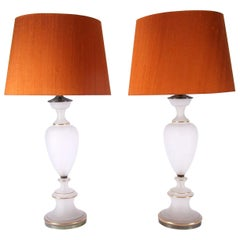 Pair of Large Frosted Glass Table Lamps