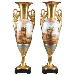 Pair of Large Fuseau Vases in Porcelaine de Paris, Empire Period