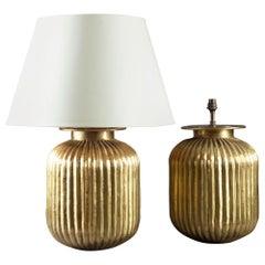 Pair of Large Gadrooned Brass Metal Lamps