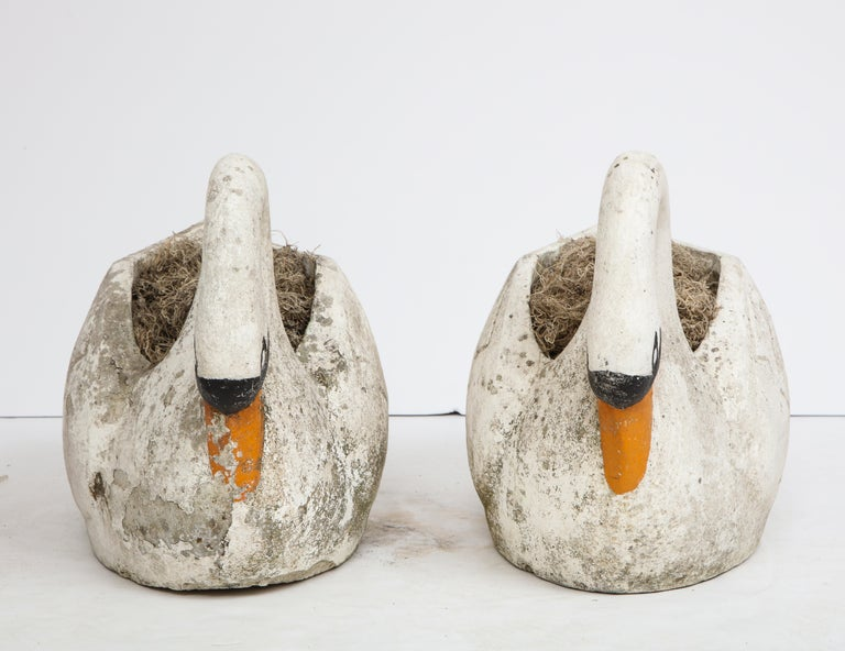 Pair of large garden swan planters.