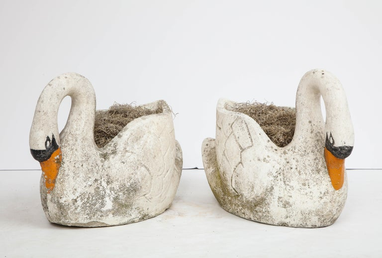 French Pair of Large Garden Swan Planters For Sale