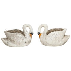 Pair of Large Garden Swan Planters