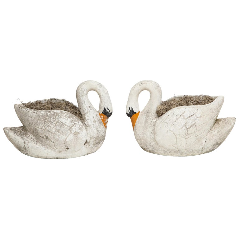 Pair of Large Garden Swan Planters For Sale