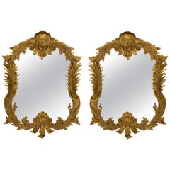 Pair of Large George III Style Giltwood Mirrors