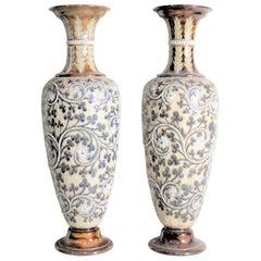 Pair of Large George Tinworth Victorian Stoneware Doulton Lambeth Vases