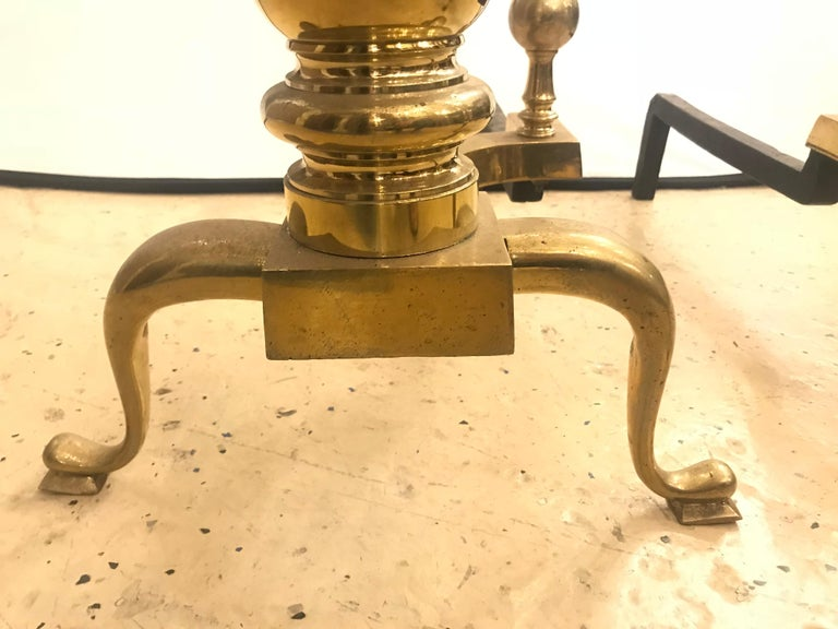 Pair of Large Georgian Style Brass Andirons For Sale 3