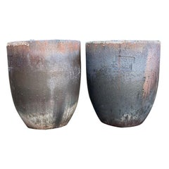 Pair of Large German Copper-Colored Ceramic Crucible Planters, Stamped