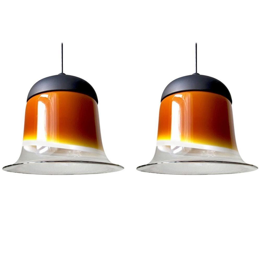 Pair of Large German Vintage Blown Glass Ceiling Hanging Pendant Lights, 1960s