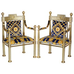 Pair of Large Gianni Versace Hollywood Regency Brass Framed Throne Armchairs