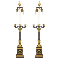 Pair of Large Gilt and Patinated Bronze Empire Table Lamps