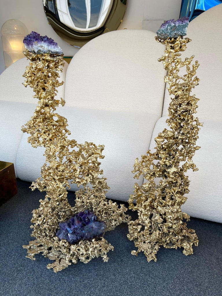 Pair of Large Gilt Bronze and Amethyst Sculpture by Boeltz, France, 1970s For Sale 5