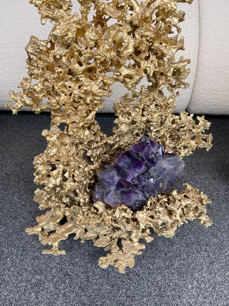 Hollywood Regency Pair of Large Gilt Bronze and Amethyst Sculpture by Boeltz, France, 1970s For Sale