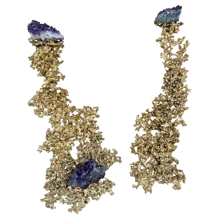 Pair of Large Gilt Bronze and Amethyst Sculpture by Boeltz, France, 1970s For Sale