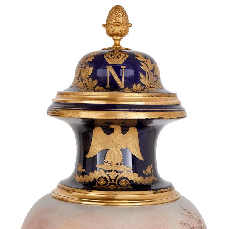 French Pair of Large Gilt Bronze and Porcelain Vases with Napoleonic Battle Scenes For Sale