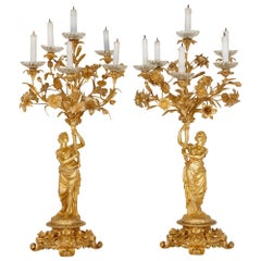 Pair of Large Gilt Bronze Candelabra by Henri Picard