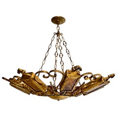 Pair of Large Gilt Iron Pendant Fixtures, Sold Individually
