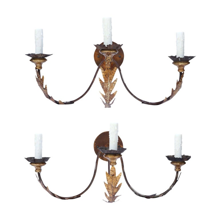 Pair of large gilt-iron sconces, late 19th century, offered by Skelton Culver