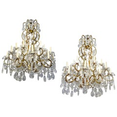 Pair of Large Gilt Metal and Crystals Chandeliers, Sold Individually