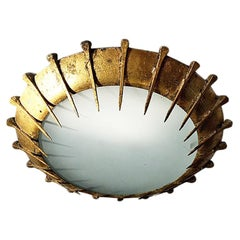 Pair of Large Gilt Metal Sunburst Fixtures, Sold Individually