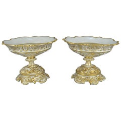 Pair of Large Gilt Old Brussels Porcelain Vases 19th Century