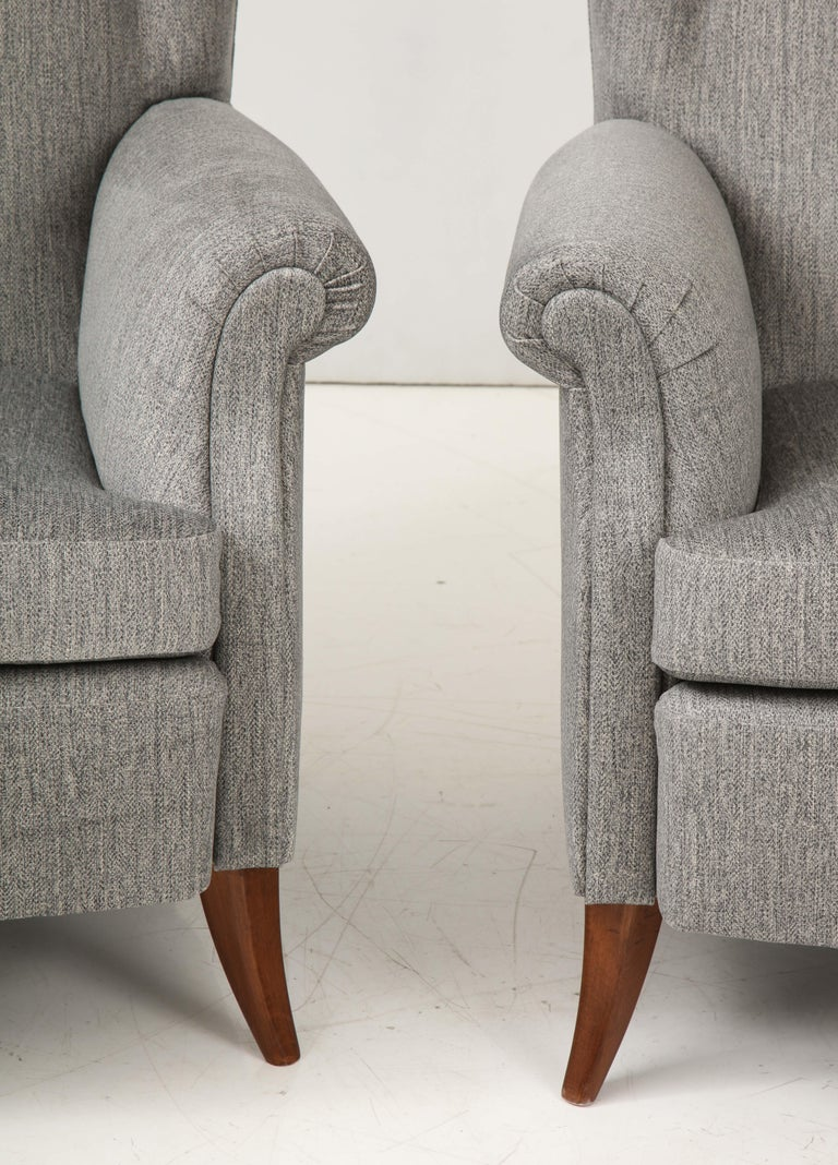 Pair of Large Gio Ponti Style Midcentury Gray Italian Lounge Chairs For Sale 2