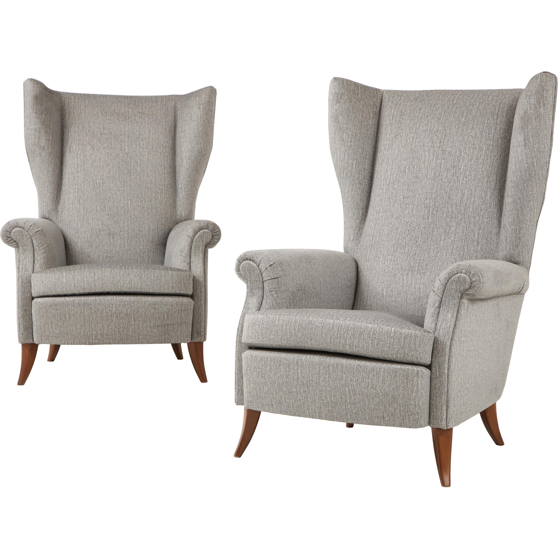 Pair of Large Gio Ponti Style Midcentury Gray Italian Lounge Chairs