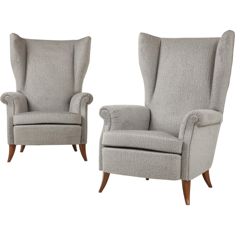 Pair of Large Gio Ponti Style Midcentury Gray Italian Lounge Chairs For Sale