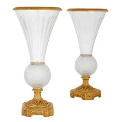 Pair of Large Glass and Gilt Bronze Vases