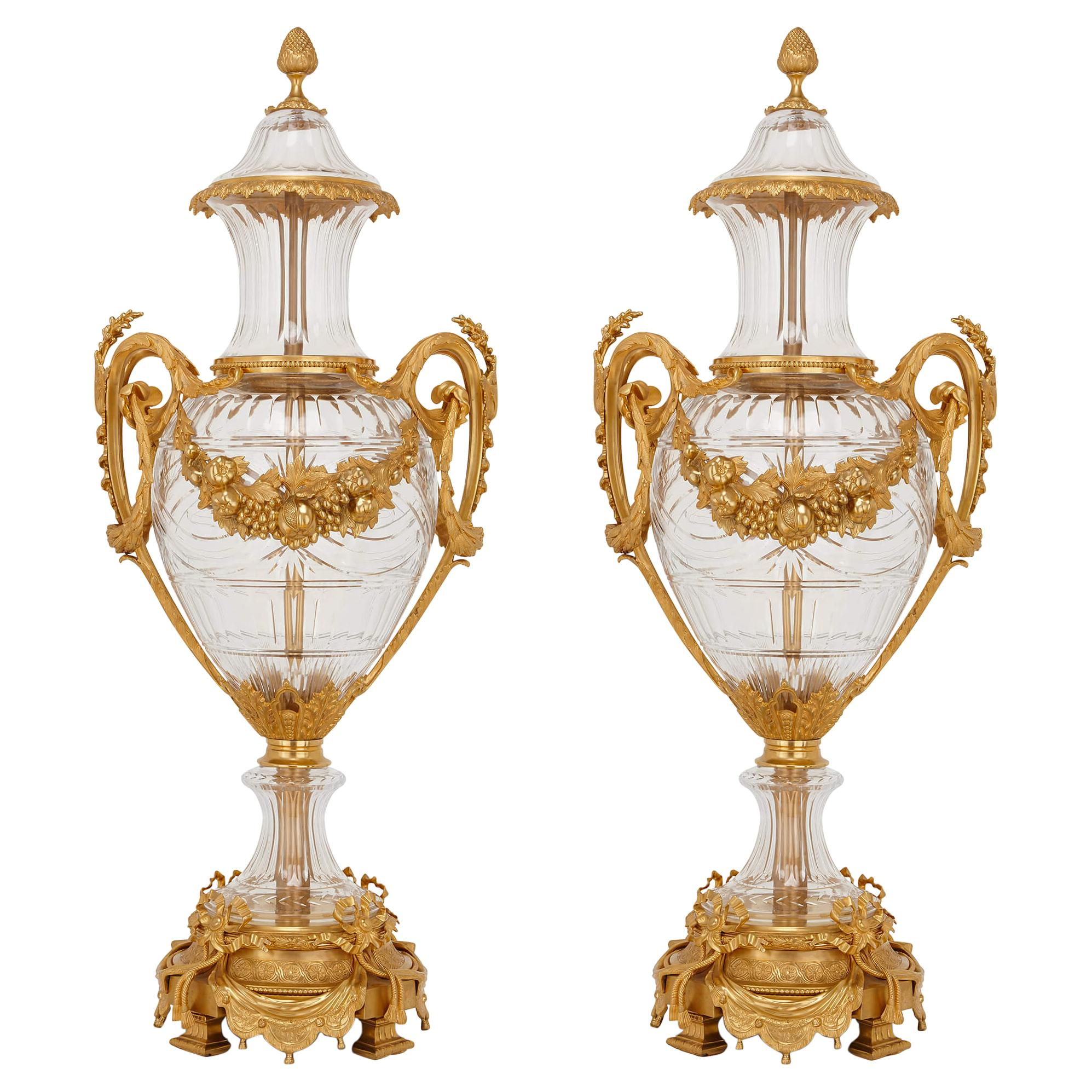 Pair of Large Glass and Gilt Bronze Vases in the Neoclassical Style