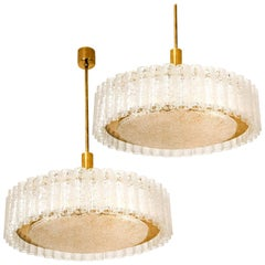 Pair of Large Glass Brass Light Fixtures by Doria, Germany, 1969