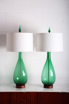 Pair of Large Glass Lamps by Blenko