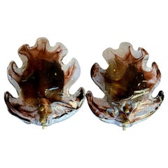 Pair of Large Glass, Leaf Shaped Wall Sconces by Fåglavik, Sweden
