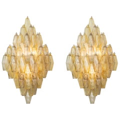 Pair of Large Glass Wall Lights, Style of Carlo Scarpa, Italy, 1970s