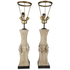 Pair of Large Glazed Ceramic Lamps by James Mont