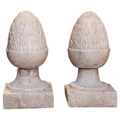 Pair of Large Glazed Gray Terracotta Garden Finials