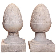 Pair of Large Glazed Gray Terracotta Garden Finials