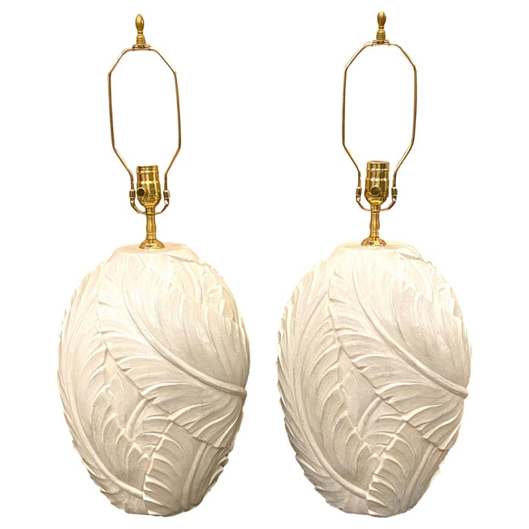 Pair of Large Glazed Plaster Table Lamps For Sale