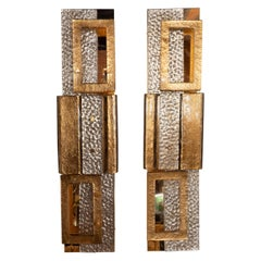 Pair of Large Gold and Bronze Murano Textured Glass and Brass Sconces, Italy